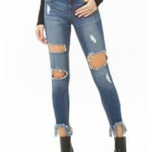 Distressed push-up jeans